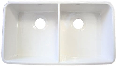 ALFI Brand AB512 32 Inch Double Bowl Fireclay Farmhouse Kitchen Sink With 1 34 Inch Lip White 0 2