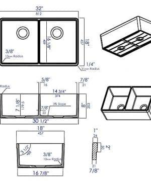 ALFI Brand AB512 32 Inch Double Bowl Fireclay Farmhouse Kitchen Sink With 1 34 Inch Lip White 0 3 300x360
