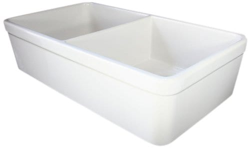 ALFI Brand AB512 32 Inch Double Bowl Fireclay Farmhouse Kitchen Sink With 1 34 Inch Lip White 0