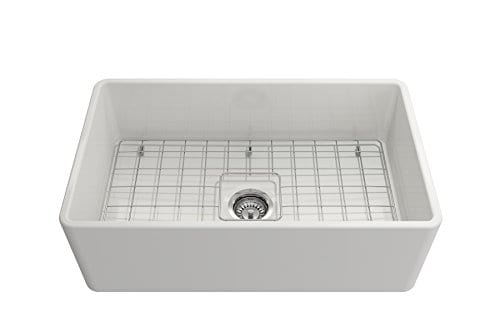 Classico Farmhouse Apron Front Fireclay 30 In Single Bowl Kitchen Sink With Protective Bottom Grid And Strainer In White 0 0
