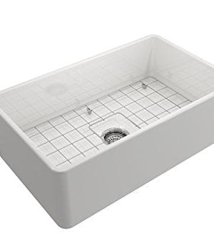 Classico Farmhouse Apron Front Fireclay 30 In Single Bowl Kitchen Sink With Protective Bottom Grid And Strainer In White 0 1 300x333