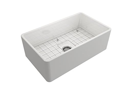 Classico Farmhouse Apron Front Fireclay 30 In Single Bowl Kitchen Sink With Protective Bottom Grid And Strainer In White 0 1