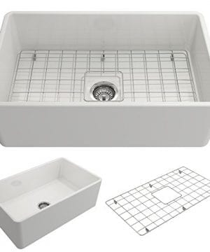 Classico Farmhouse Apron Front Fireclay 30 In Single Bowl Kitchen Sink With Protective Bottom Grid And Strainer In White 0 300x360