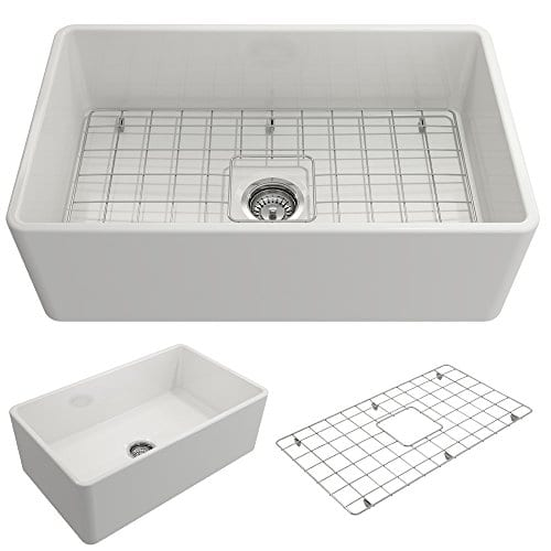Classico Farmhouse Apron Front Fireclay 30 In Single Bowl Kitchen Sink With Protective Bottom Grid And Strainer In White 0