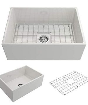 Contempo Farmhouse Apron Front Fireclay 27 In Single Bowl Kitchen Sink With Protective Bottom Grid And Strainer In White 0 300x360