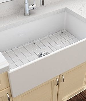 Contempo Farmhouse Apron Front Fireclay 33 In Single Bowl Kitchen Sink With Protective Bottom Grid And Strainer In White 0 0 300x350