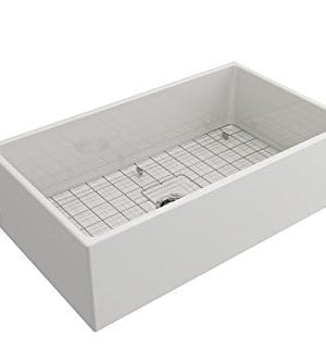 Contempo Farmhouse Apron Front Fireclay 33 In Single Bowl Kitchen Sink With Protective Bottom Grid And Strainer In White 0 2 300x333
