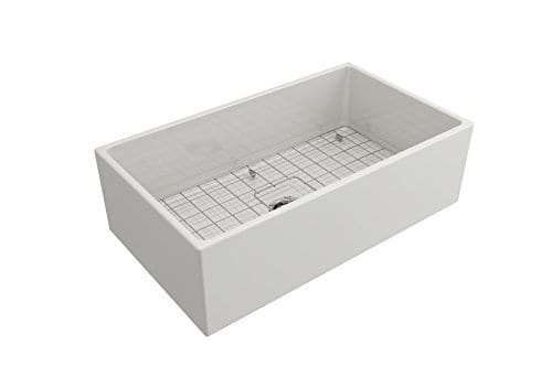Contempo Farmhouse Apron Front Fireclay 33 In Single Bowl Kitchen Sink With Protective Bottom Grid And Strainer In White 0 2