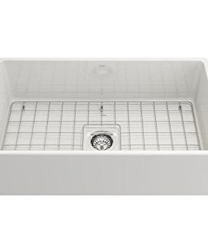 Contempo Farmhouse Apron Front Fireclay 33 In Single Bowl Kitchen Sink With Protective Bottom Grid And Strainer In White 0 3 300x333