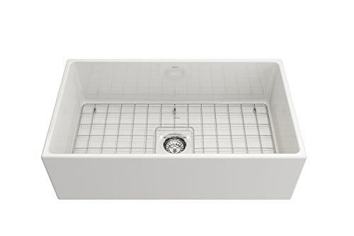 Contempo Farmhouse Apron Front Fireclay 33 In Single Bowl Kitchen Sink With Protective Bottom Grid And Strainer In White 0 3