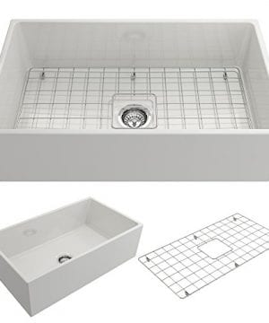 Contempo Farmhouse Apron Front Fireclay 33 In Single Bowl Kitchen Sink With Protective Bottom Grid And Strainer In White 0 300x360