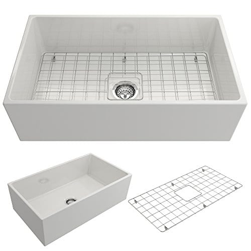 Contempo Farmhouse Apron Front Fireclay 33 In Single Bowl Kitchen Sink With Protective Bottom Grid And Strainer In White 0