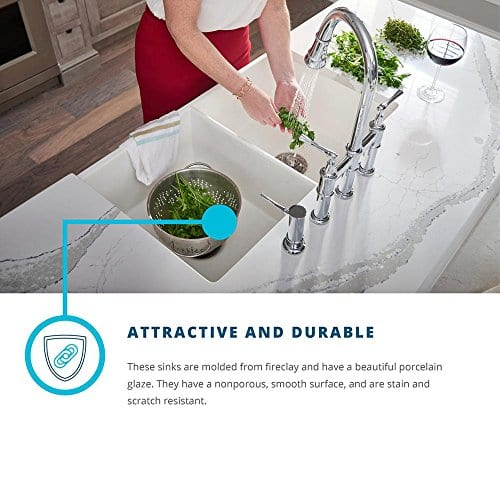 Elkay Fireclay SWUF3320WH Double Bowl Farmhouse Sink With Aqua Divide 0 3