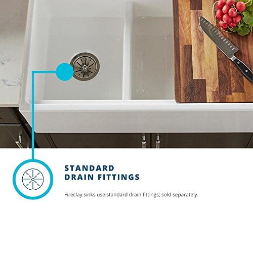 Elkay Fireclay SWUF3320WH Double Bowl Farmhouse Sink With Aqua Divide 0 4