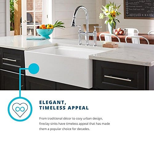 Elkay Fireclay SWUF3320WH Double Bowl Farmhouse Sink With Aqua Divide 0 5