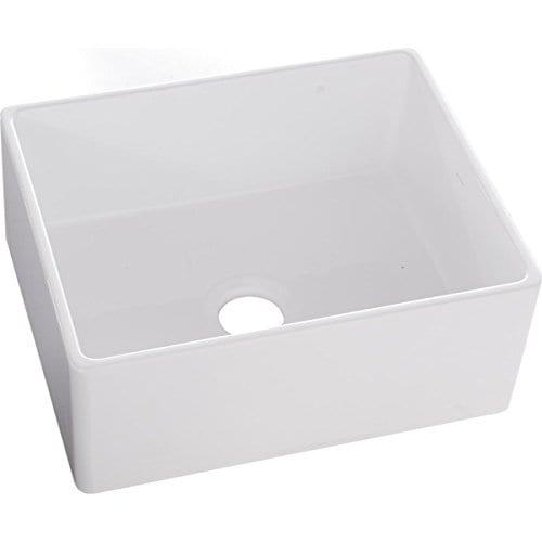 Elkay-SWUF2520WH-Fireclay-Single-Bowl-Farmhouse-Sink-White-0-1