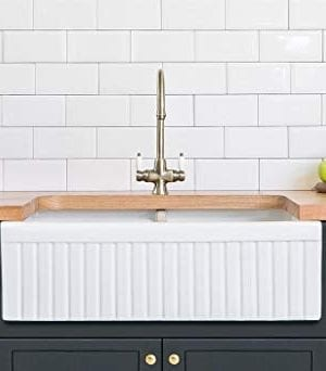 Barkano Farmhouse Farm Kitchen Sink White Double Bowl Fireclay With A Front Undermount Installation Reversible Smooth Fluted 33 X 20 10 Inches