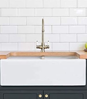 Farmhouse Kitchen Sink White Double Bowl Fireclay With Apron Front Undermount Installation Reversible Smooth Fluted 33 Inches 0 300x342