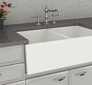 Farmhouse Kitchen Sink White Double Bowl Fireclay With Apron Front Undermount Installation Reversible Smooth Fluted 33 Inches 0 5 300x277