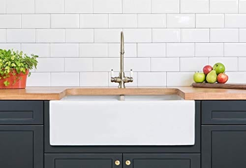 Farmhouse Kitchen Sink White Double Bowl Fireclay With Apron Front Undermount Installation Reversible Smooth Fluted 33 Inches 0