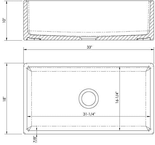 Fireclay Farm House Apron Front MSFC33PLN 33 Plain Kitchen Sink 0 1