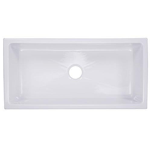 HIGHPOINT COLLECTION White 36 Inch Single Bowl Rectangle Fireclay Farmhouse Kitchen Sink 0 0