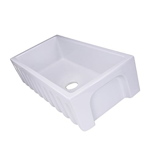 HIGHPOINT COLLECTION White 36 Inch Single Bowl Rectangle Fireclay Farmhouse Kitchen Sink 0 3