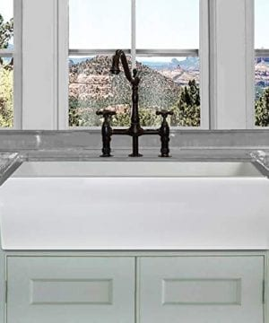 HIGHPOINT COLLECTION White 36 Inch Single Bowl Rectangle Fireclay Farmhouse Kitchen Sink 0 300x360