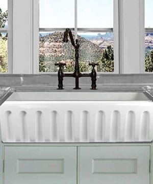 HIGHPOINT COLLECTION White 36 Inch Single Bowl Rectangle Fireclay Farmhouse Kitchen Sink 0 5 300x360
