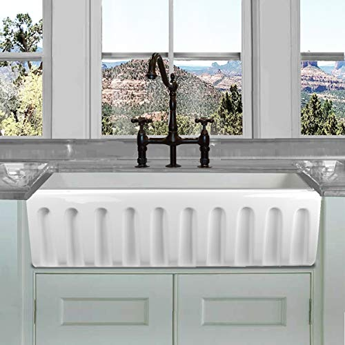 HIGHPOINT COLLECTION White 36 Inch Single Bowl Rectangle Fireclay Farmhouse Kitchen Sink 0 5