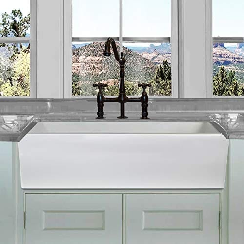 HIGHPOINT COLLECTION White 36 Inch Single Bowl Rectangle Fireclay Farmhouse Kitchen Sink 0