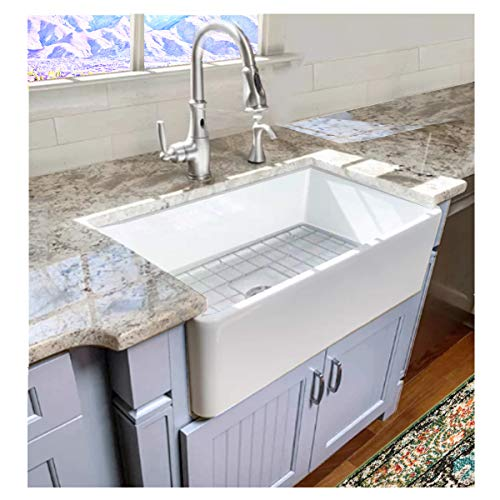 Highpoint Collection 30 Inch Single Bowl Fireclay Ceramic Farmhouse Kitchen Sink 0 5