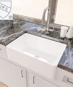 KES CUPC Fireclay Sink Farmhouse Kitchen Sink 30 Inch Porcelain Undermount Rectangular White BVS117 0 300x360