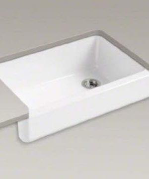 KOHLER K 5826 0 Whitehaven Self Trimming Under Mount Single Bowl Sink With Short Apron White 0 3 300x360