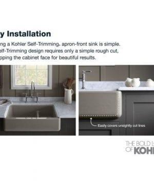 KOHLER K 5826 0 Whitehaven Self Trimming Under Mount Single Bowl Sink With Short Apron White 0 4 300x360