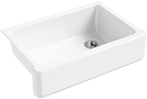 KOHLER K 5827 0 Whitehaven Self Trimming Under Mount Single Bowl Sink With Tall Apron White 0