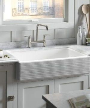 KOHLER K 6349 0 Whitehaven Hayridge Under Mount LargeMedium Double Bowl Kitchen Sink With Tall Apron White 0 1 300x360