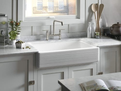 KOHLER K 6349 0 Whitehaven Hayridge Under Mount LargeMedium Double Bowl Kitchen Sink With Tall Apron White 0 1
