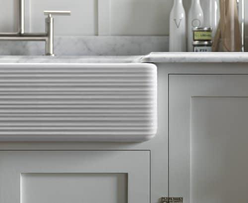 KOHLER K 6349 0 Whitehaven Hayridge Under Mount LargeMedium Double Bowl Kitchen Sink With Tall Apron White 0 3