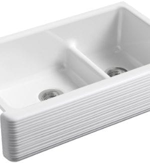 KOHLER K 6349 0 Whitehaven Hayridge Under Mount LargeMedium Double Bowl Kitchen Sink With Tall Apron White 0 300x327