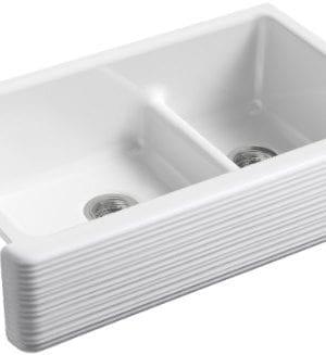 KOHLER K 6349 0 Whitehaven Hayridge Under Mount LargeMedium Double Bowl Kitchen Sink With Tall Apron White 0 300x327