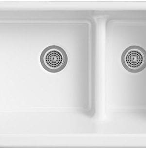 KOHLER K 6426 0 Whitehaven Smart Divide Self Trimming Under Mount Apron Front Double Bowl Kitchen Sink With Short Apron 35 12 Inch X 21 916 Inch X 9 58 Inch White 0 0 300x306
