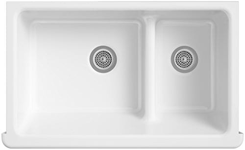 KOHLER K 6426 0 Whitehaven Smart Divide Self Trimming Under Mount Apron Front Double Bowl Kitchen Sink With Short Apron 35 12 Inch X 21 916 Inch X 9 58 Inch White 0 0