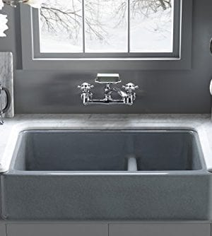 KOHLER K 6426 0 Whitehaven Smart Divide Self Trimming Under Mount Apron Front Double Bowl Kitchen Sink With Short Apron 35 12 Inch X 21 916 Inch X 9 58 Inch White 0 1 300x334