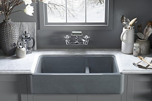 KOHLER K 6426 0 Whitehaven Smart Divide Self Trimming Under Mount Apron Front Double Bowl Kitchen Sink With Short Apron 35 12 Inch X 21 916 Inch X 9 58 Inch White 0 1