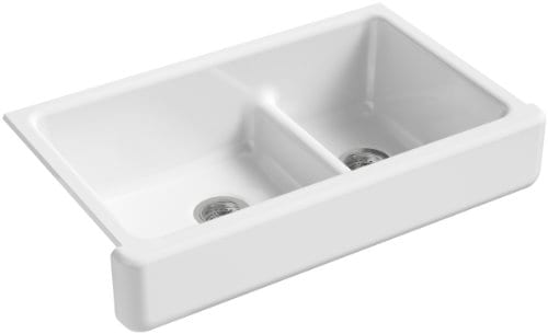 KOHLER K 6426 0 Whitehaven Smart Divide Self Trimming Under Mount Apron Front Double Bowl Kitchen Sink With Short Apron 35 12 Inch X 21 916 Inch X 9 58 Inch White 0