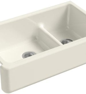KOHLER K 6427 96 Whitehaven Smart Divide Self Trimming Under Mount Apron Front Double Bowl Kitchen Sink With Tall Apron 35 12 Inch X 21 916 Inch X 9 58 Inch Biscuit 0 300x326