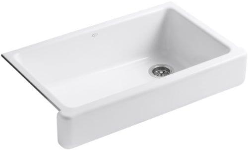 KOHLER K 6488 0 Whitehaven Self Trimming Apron Front Single Basin Sink With Short Apron White 0
