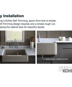 KOHLER K 6489 0 Whitehaven Self Trimming Apron Front Single Basin Sink With Tall Apron White 0 4 300x360