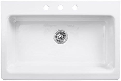 KOHLER K 6546 3 0 Dickinson Apron Front Tile In Kitchen Sink White 0 0